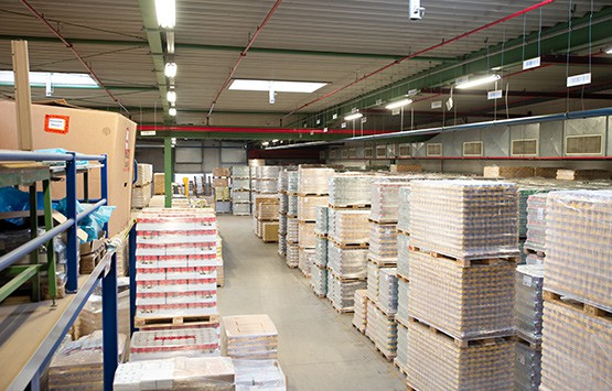 Lager am Standort Beelen des Logistikdienstleisters B+S.